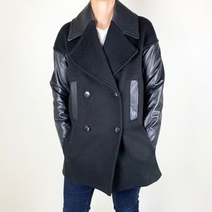 Danier Black Wool and Leather Coat